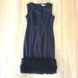 Calvin Klein Black Cocktail Dress with fur trim 4